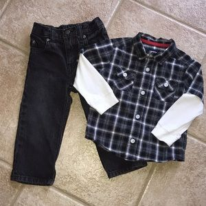 Carter's Boys LS Button Down Shirt & Jeans Set